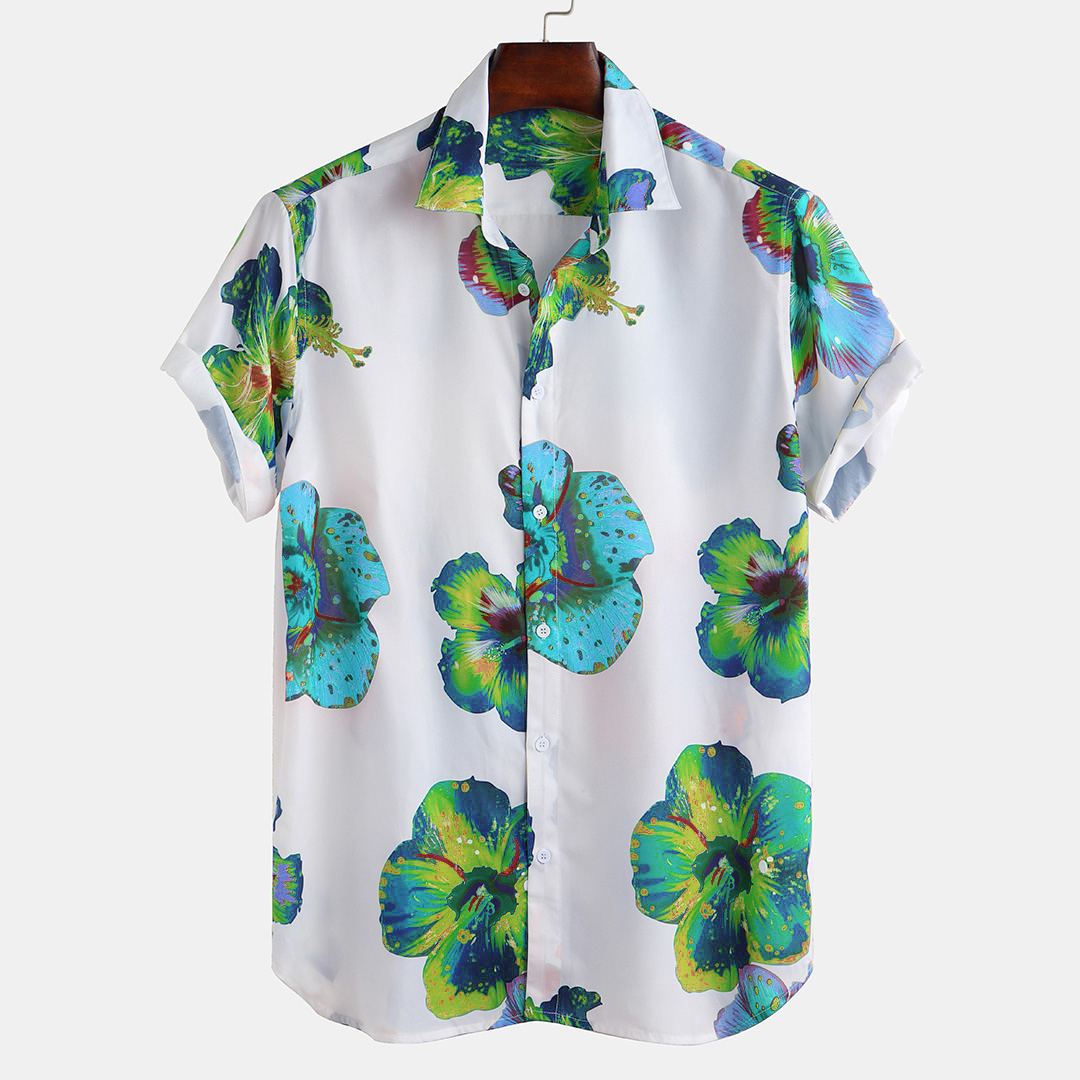Men Oriental Floral Print Short Sleeve Relaxed Shirts