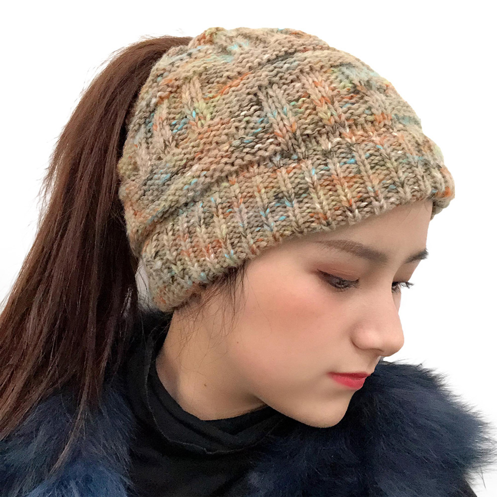 Женский теплый вязаный Шапка полосатый хвост оголовье шерстяная шапка