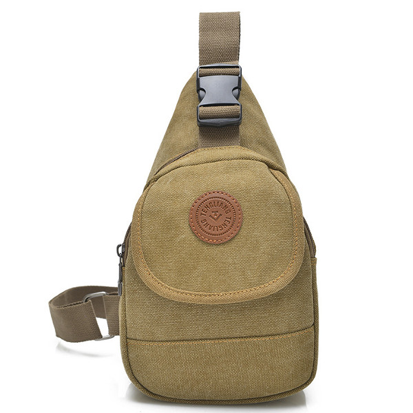 Vintage Canvas Chest Bags Casual Front Pocket Sling Shoulder Bags Crossbody Bags