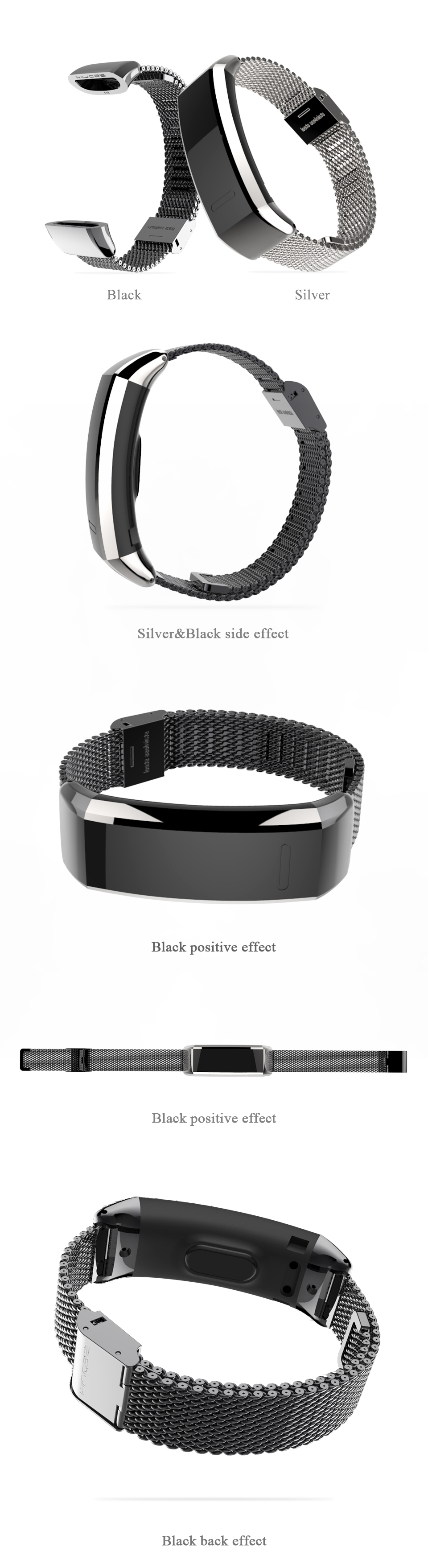 Mijobs Stainless Steel Strap Smart Watch Band for Huawei Sport Band 2 pro  B29 B19 Smart Watch