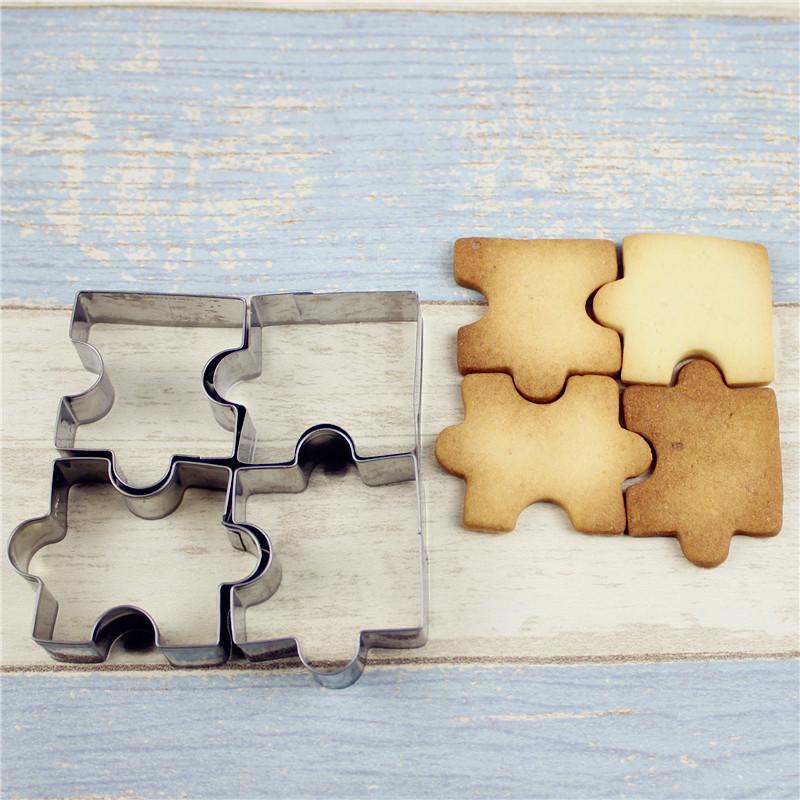 шт из нержавеющей стали Торт для головоломки Piece Pastry Cookie Cutter Biscuit Bakinguit Набор Аксессуары