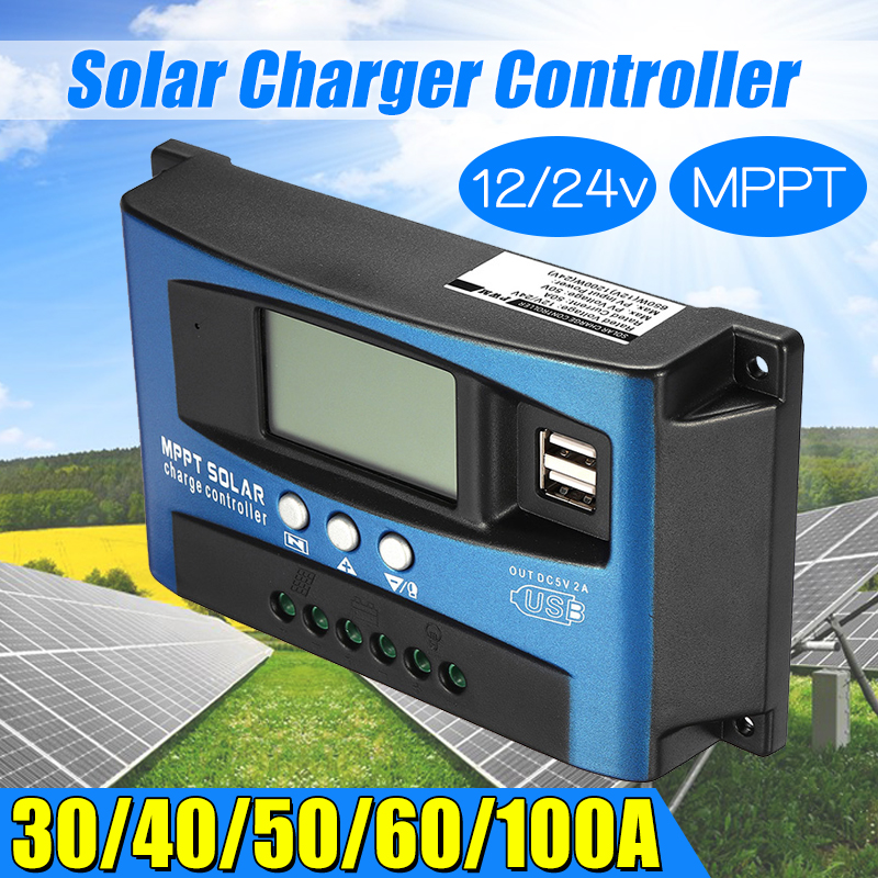 30/40/50/60/100A MPPT Solar Controller LCD Solar Charge Controller Accuracy Dual USB Solar Panel Battery Regulator 14