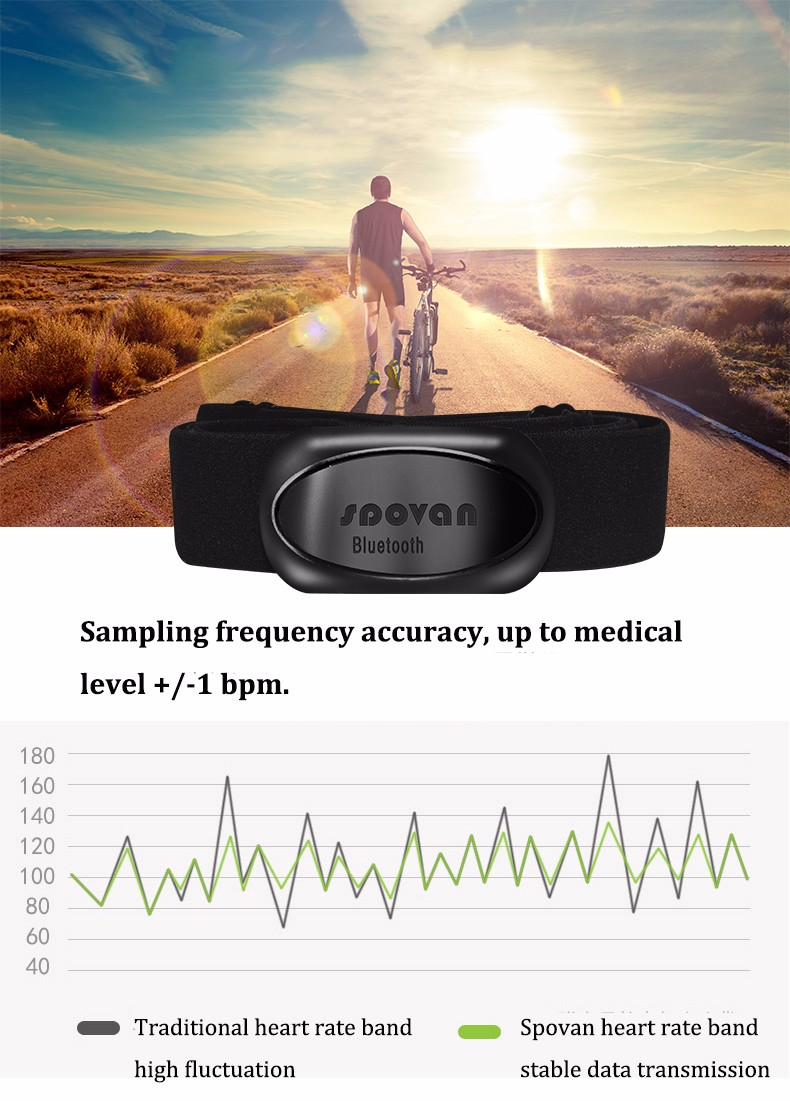 Spovan Sports Heart Rate Monitor Belt ANT bluetooth 4 0 Smart Chest Band  Strap