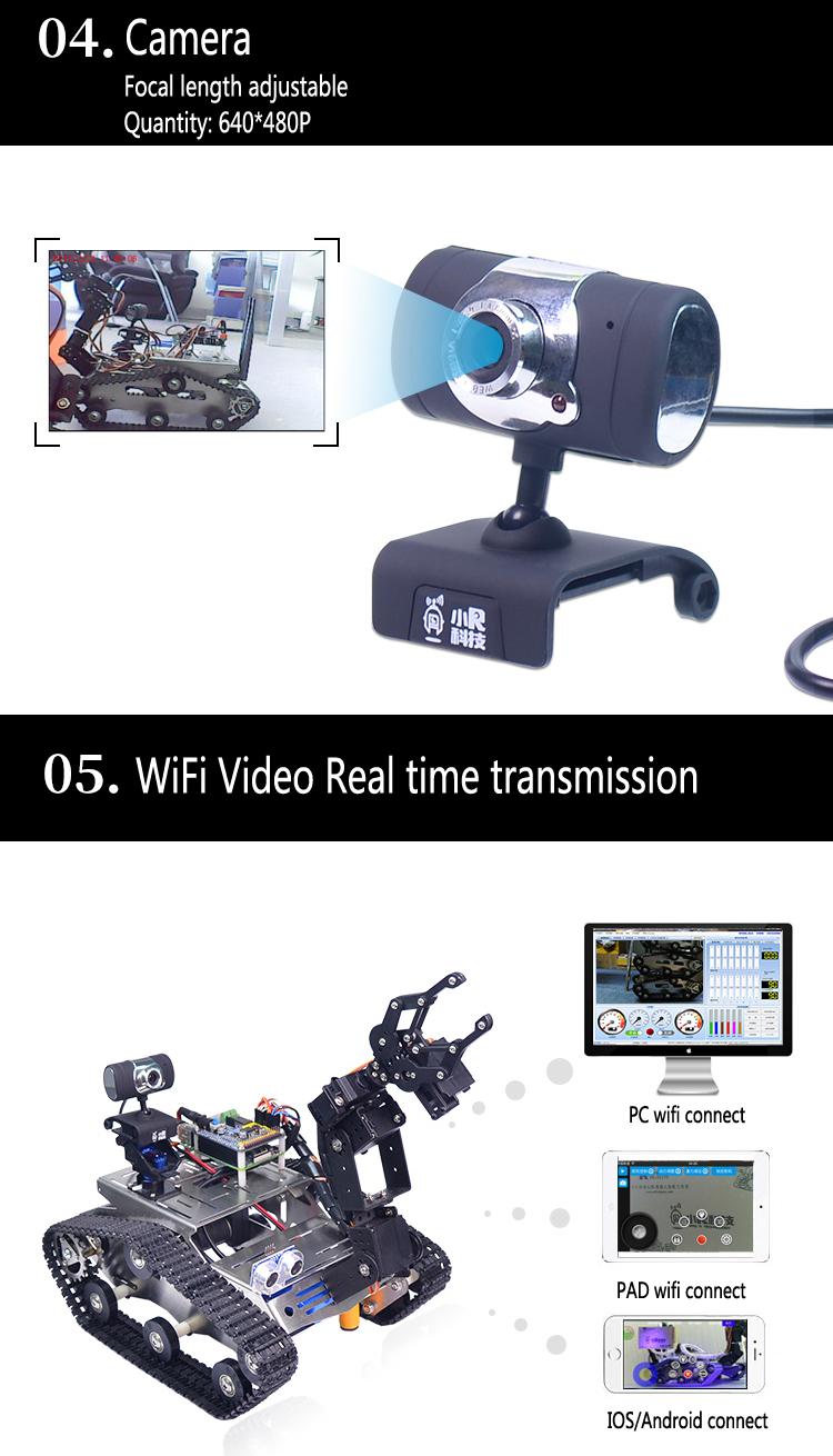 Xiao R WiFi Video Robot Arm Car with Gimbal Camera Raspberry Pi 3B+  Built-in bluetooth Wifi Module