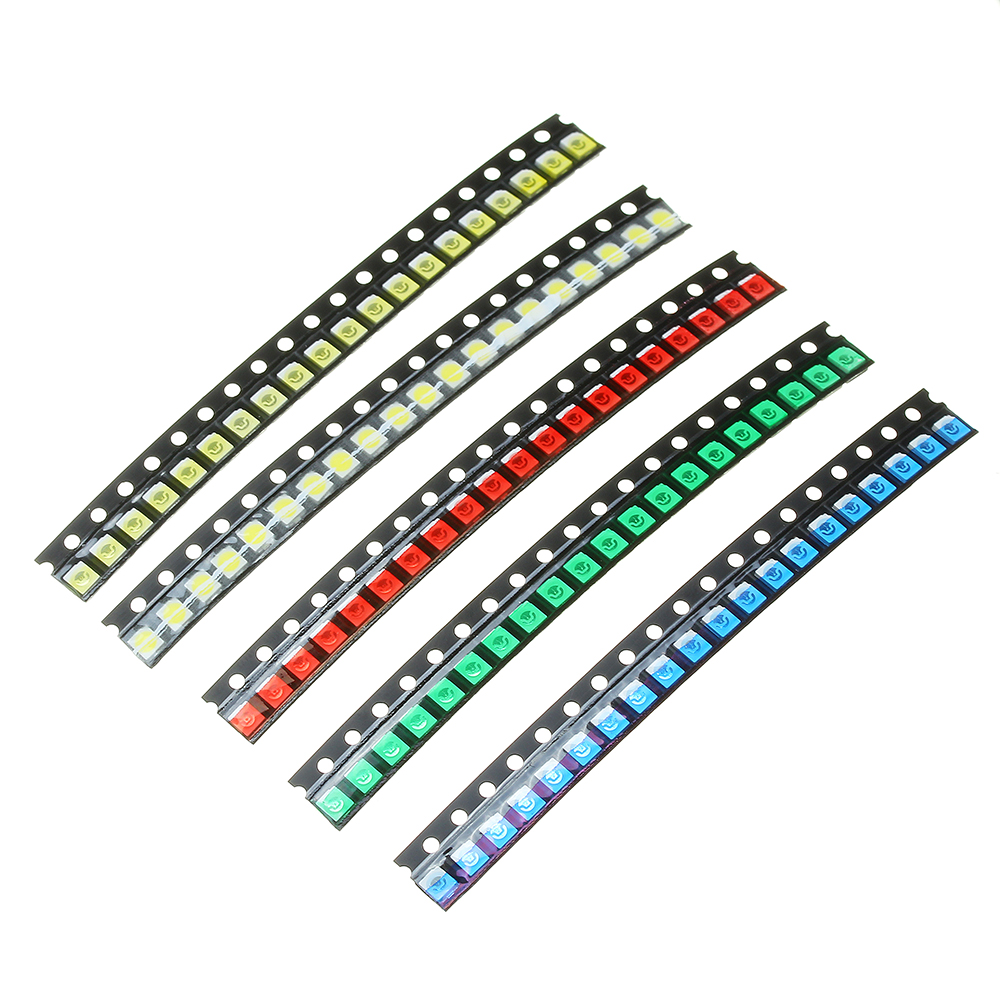 100Pcs 5 Colors 20 Each 1210 LED Diode Assortment SMD LED Diode Kit Green/RED/White/Blue/Yellow