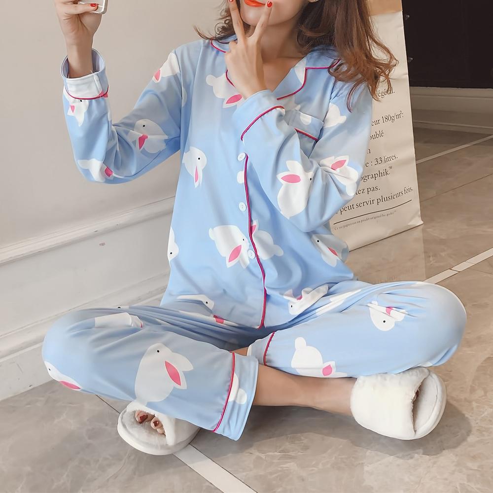 2шт печатные кнопки с отворотом с длинным рукавом Шелковые комплекты пижамы