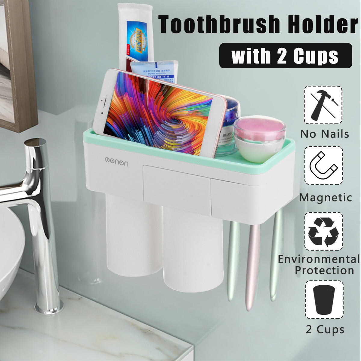 Magnetic Toothbrush Holder Toothpaste Dispenser Bathroom