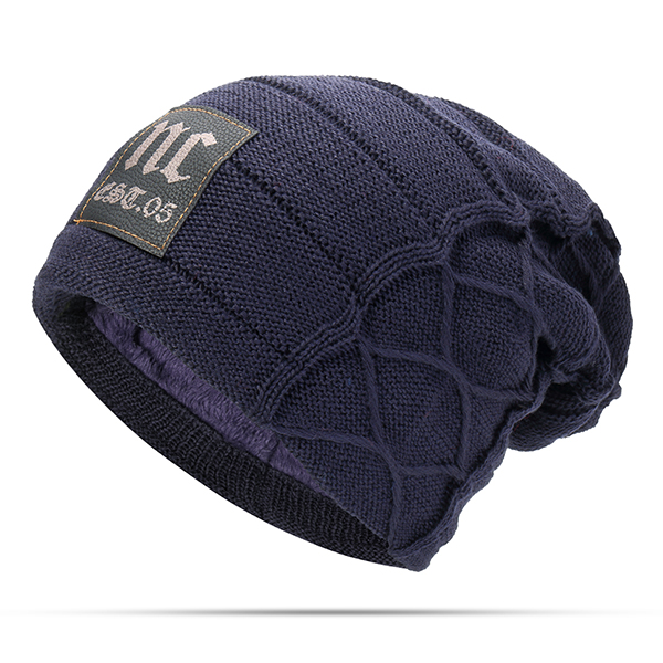 2eb8debd9 Mens Plus Velvet Thick Warm Knitted Hat Casual Letter Solid Slouchy Beanie  Hat