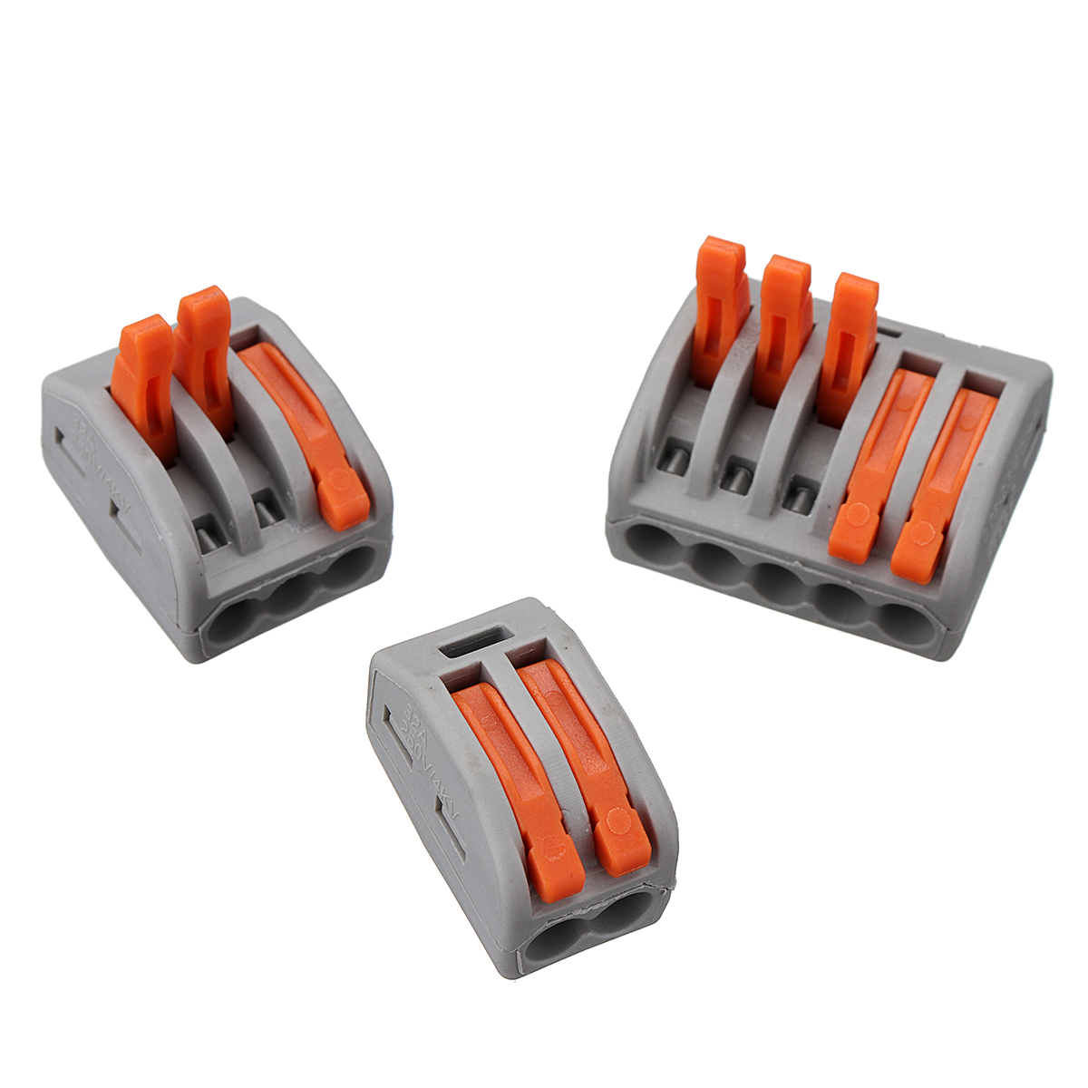6011e7db 6eac 4ccb 9c9f 46f4b1cb1710 Excellway® 60Pcs 2/3/5 Holes Spring Conductor Terminal Block