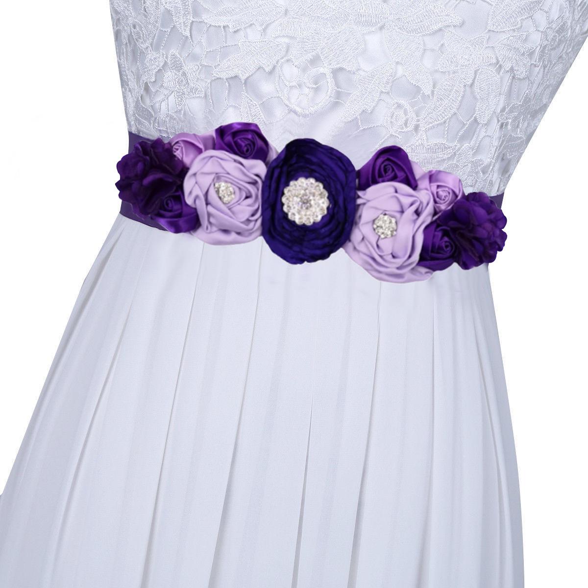 КрасотаДетиЦветочнаядевушкаатласнаяшелковая цветочная створка Ремень Свадебное Платье Талия Ремень