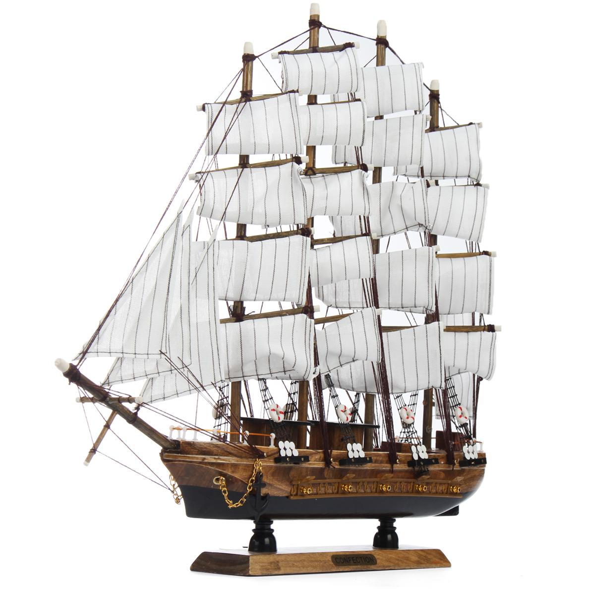 50cm Handmade Wooden Sailing Boats Model Assembly Nautical Ship Schooner Boat Decorations Gift