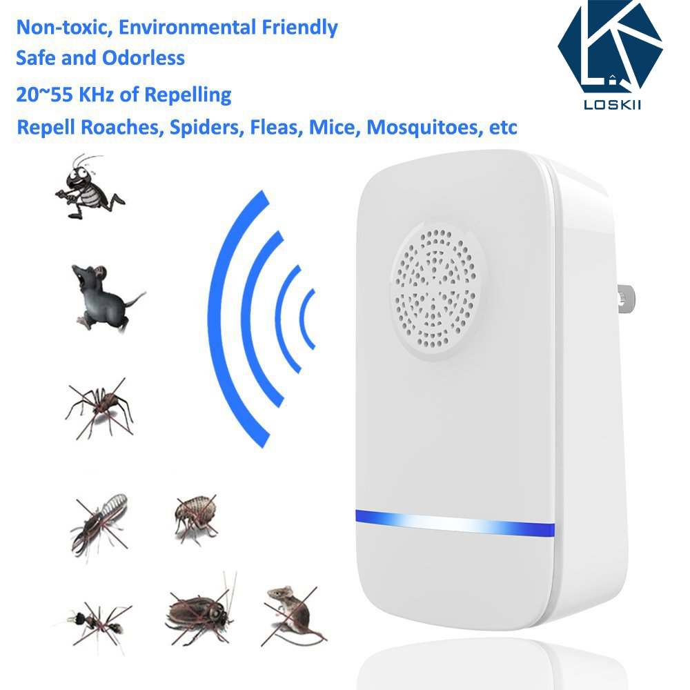 Loskii PR-892 Multi-use Ultrasonic Pest Repeller Electronic Pest Control  Repel Mouse Bed Bugs Mosquitoes Roaches Killer Non-toxic Eco-Friendly Human  &