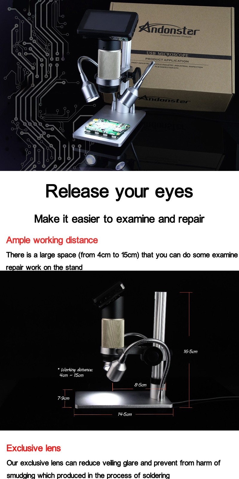 Andonstar ADSM201 1080P Full HD USB Microscope Magnifier Long Object Distance Microscope Double Output Soldering Tool Phone Watch Repair