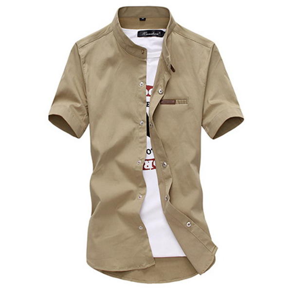 Mens Stand Band Collar Button up Elastic Slim Fit Casual Shirts Plus Size S-3XL