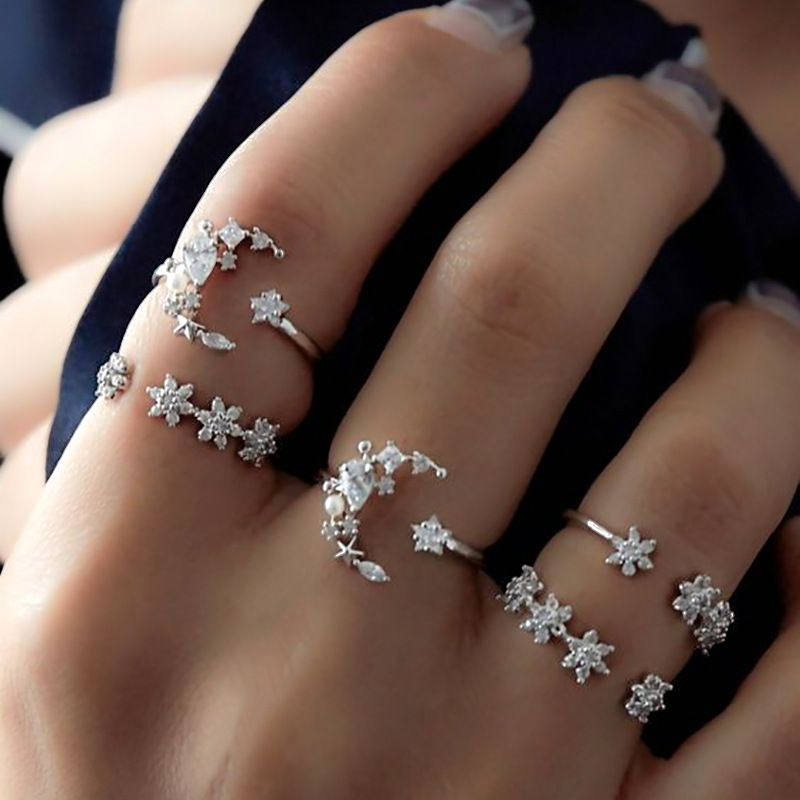 5Pcs Fashion Ring Sets Bohemian Finger Ring Simple Moon