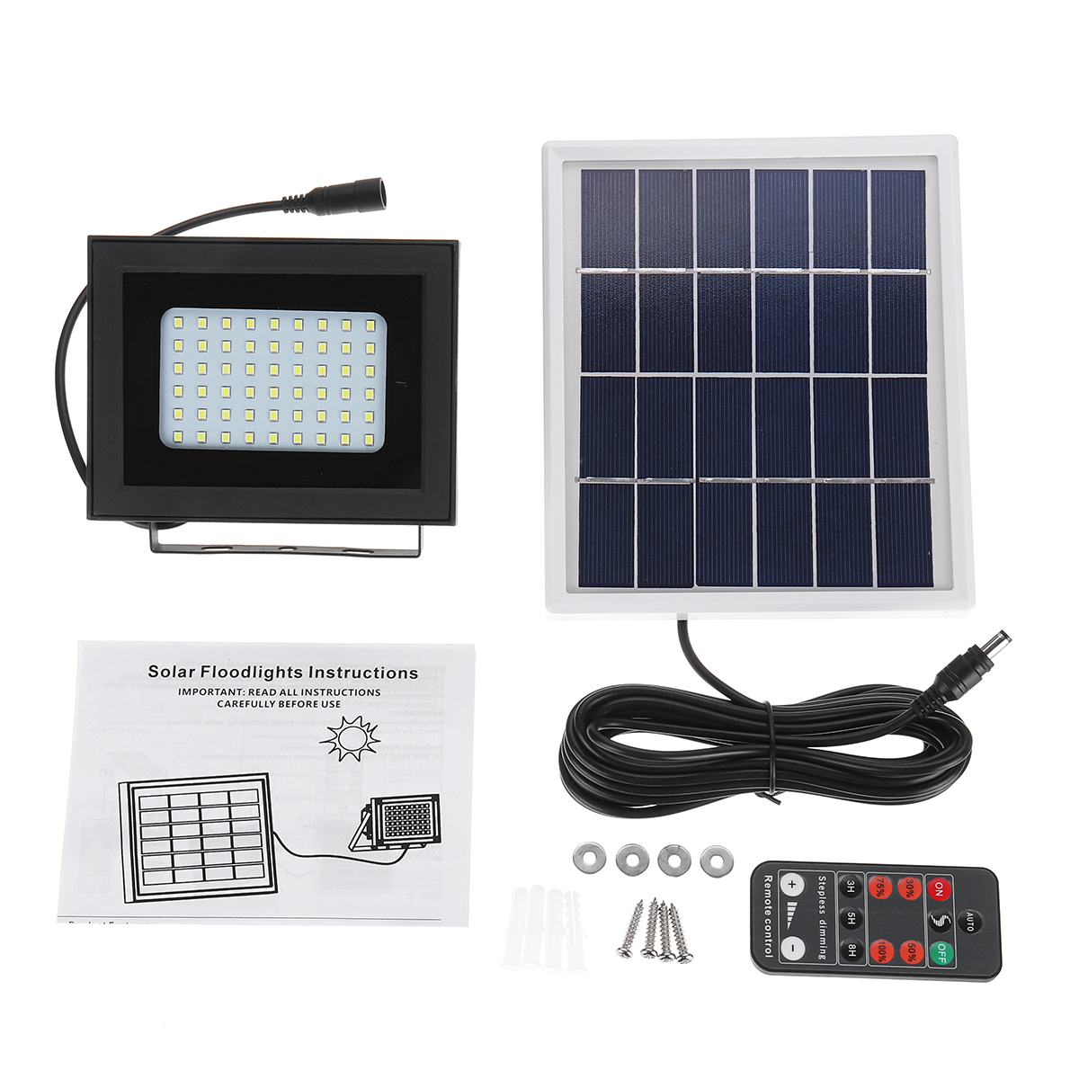 400LM 54 LED Solar Panel Flood Light Spotlight Project Lamp IP65 Waterproof Outdoor Camping Emergency Lantern With Remote Control 21