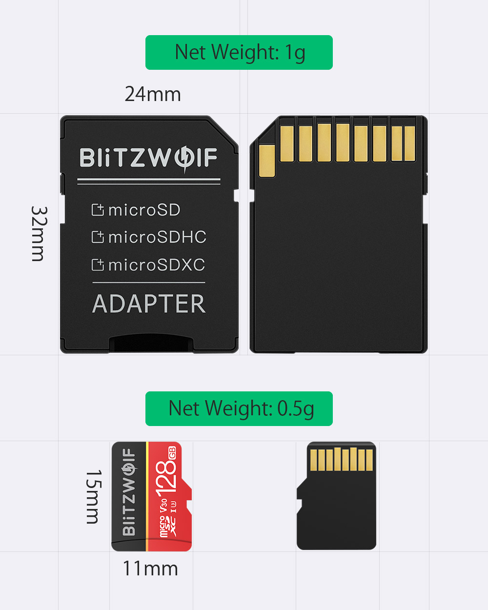BlitzWolf® BW-TF1 Class 10 UHS-1 32GB UHS-3 V30 64GB 128GB Micro SD TF Memory Card with Adapter