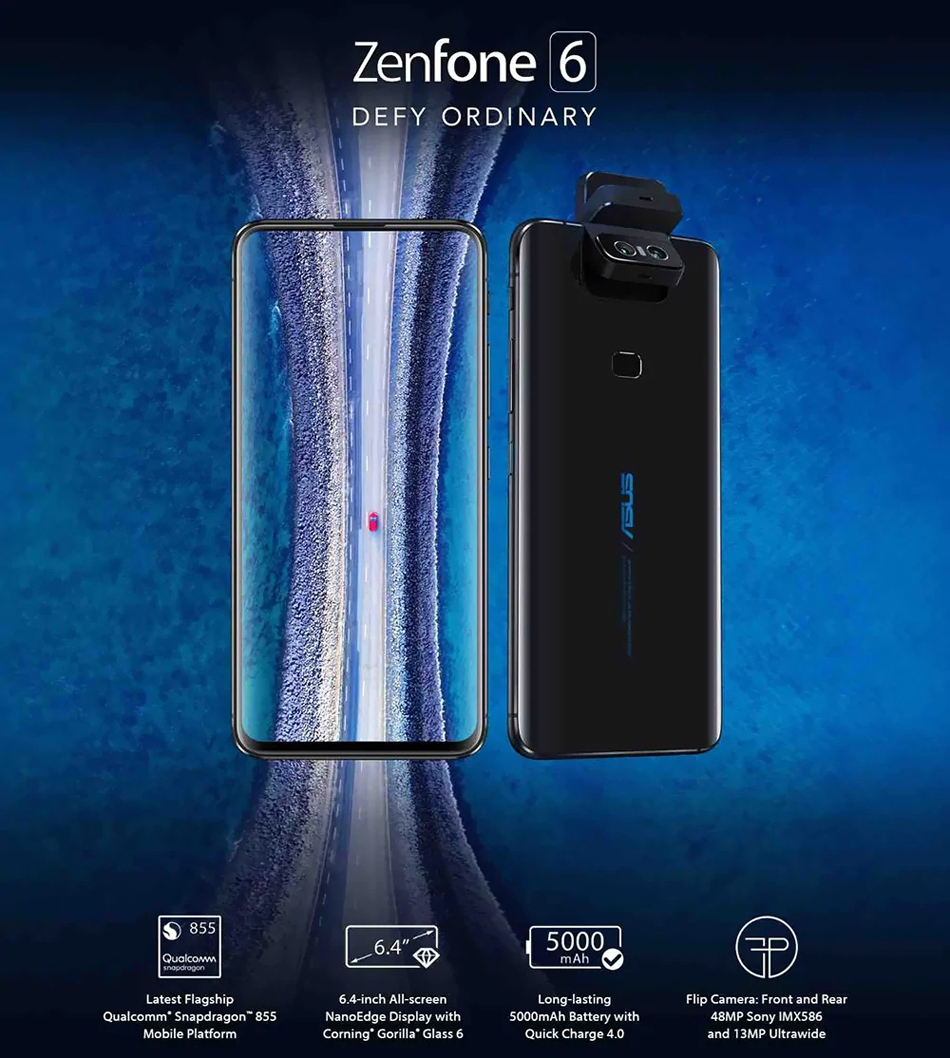 ASUS ZenFone 6 Global Version 6 4 Inch FHD+ Full Screen NFC 5000mAh  48MP+13MP Flip Cameras 6GB 64GB Snapdragon 855 4G Smartphone