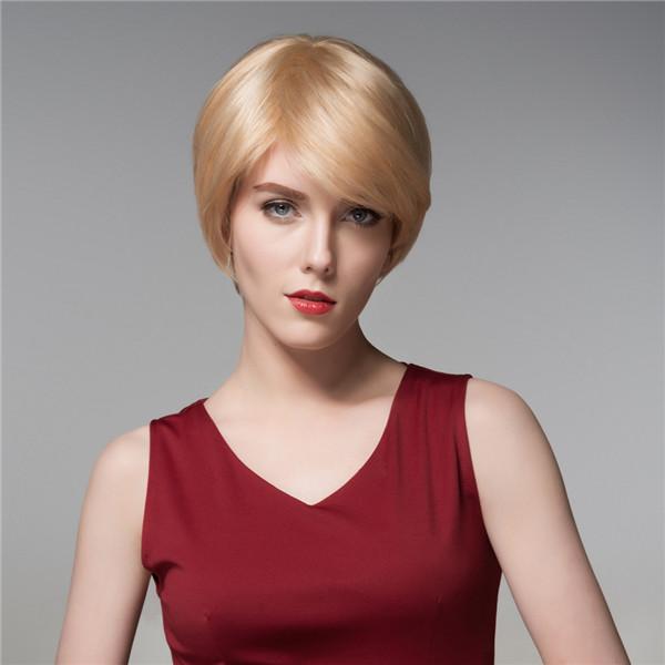 Холодные женщины человеческие волосы Remy девственницы парик короткий моно верхняя сторона челки прямые 14 COLOS