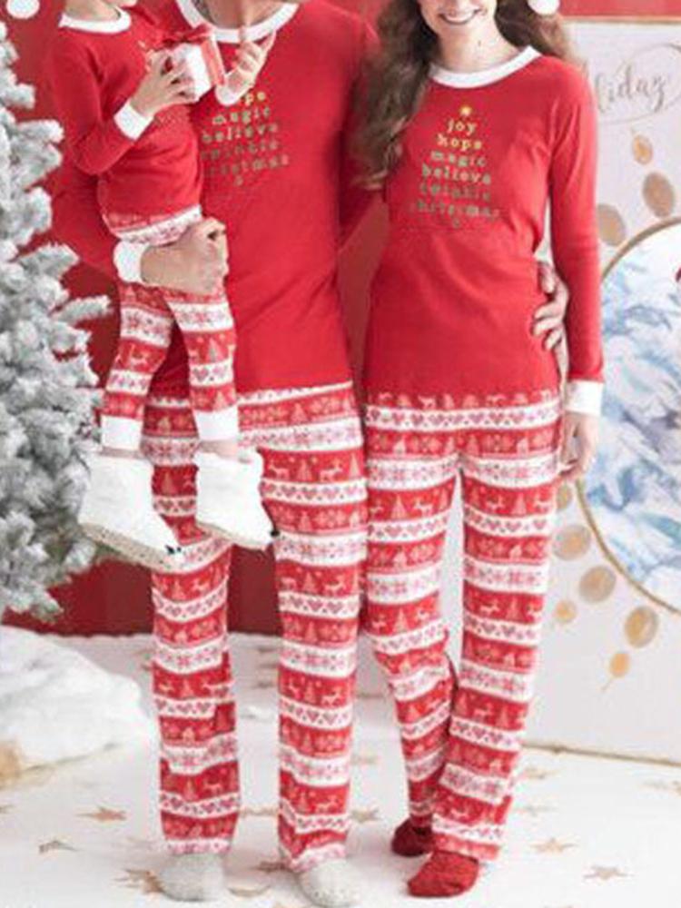 Повседневный Рождественский родитель-ребенок с длинным рукавом Home Tracksuit Set