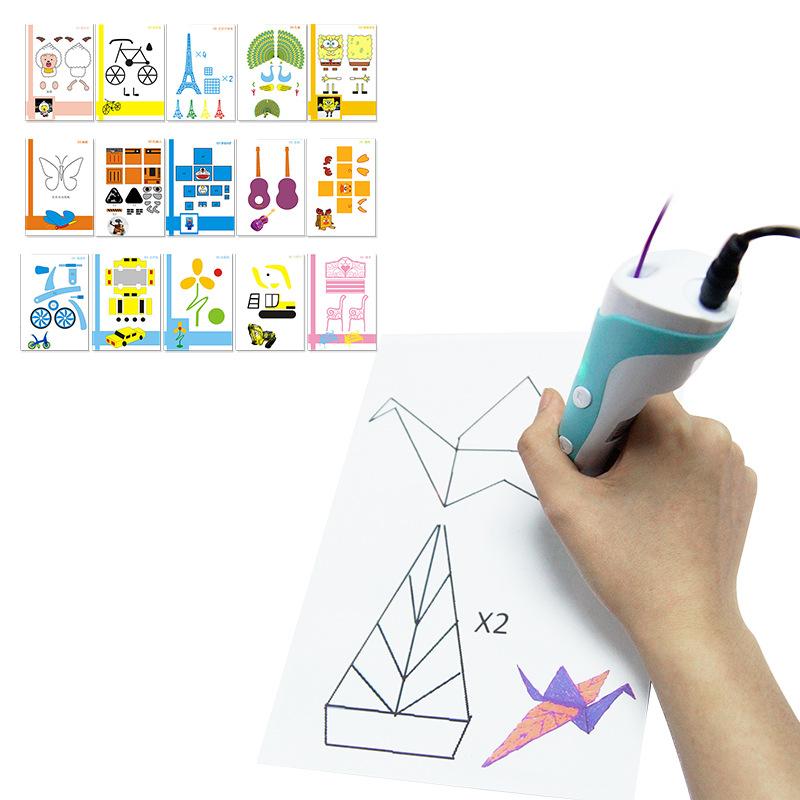 15 ШТ. 3D-Печать Ручка Двусторонняя Бумага + Прозрачный Шаблон Копировать Граффити Доска Костюм для Детей
