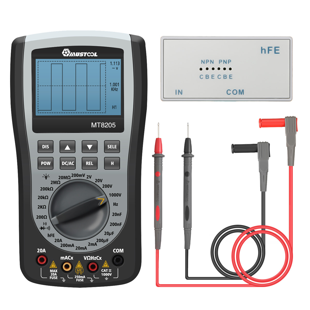 MUSTOOL MT8205 2 in 1 Digital Intelligent Handheld Storage Oscilloscope Multimeter AC/DC Current Voltage Resistance Frequency Diode Tester