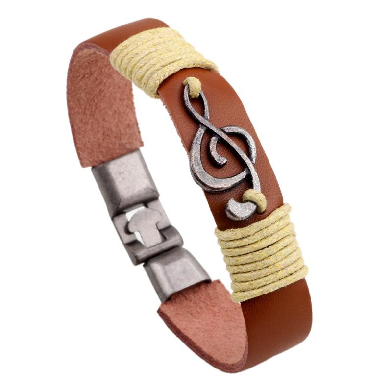 Унисекс Винтаж музыкальные ноты кожаные браслеты