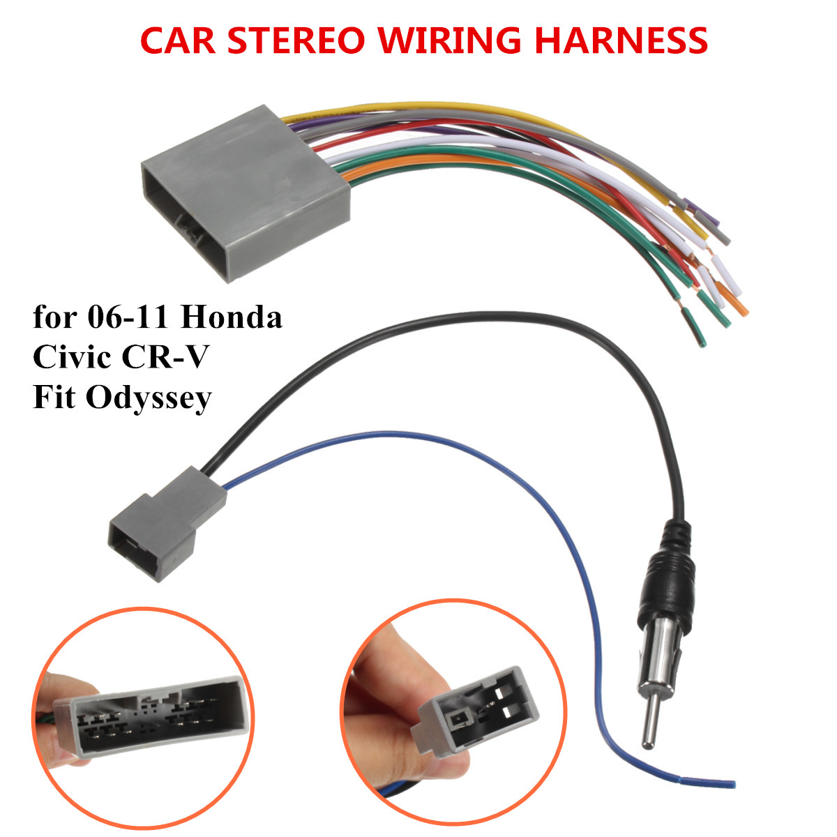 Car Stereo Radio Player Wire Harness DVD Antenna for Honda Odyssey on