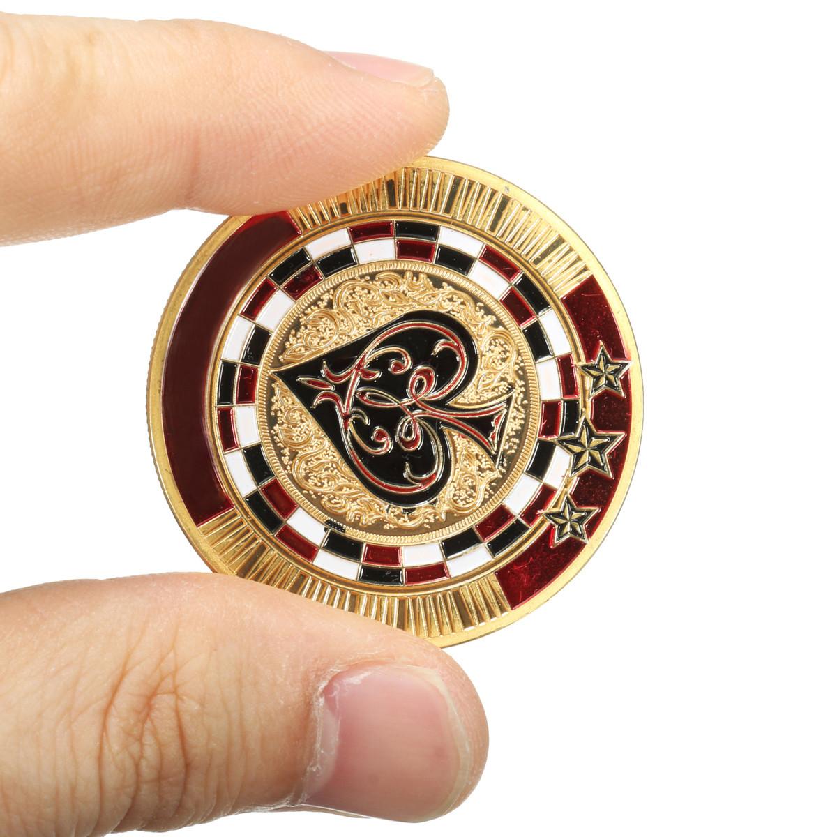 Металлический покер охранник карта золото с гальваническим покрытием круглый пластмассовый корпус чипа протектора монеты