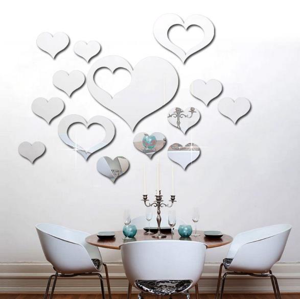 3D Сердце Серебро DIY Форма Зеркало Стены Стикеры Главная Стена Спальня Фон Офис Декор
