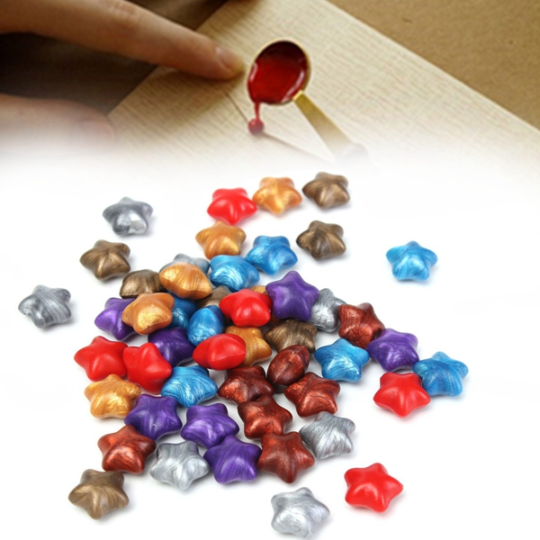 50Pcs Mixed Color Lucky Star Wax Seal Ring Pentagram St