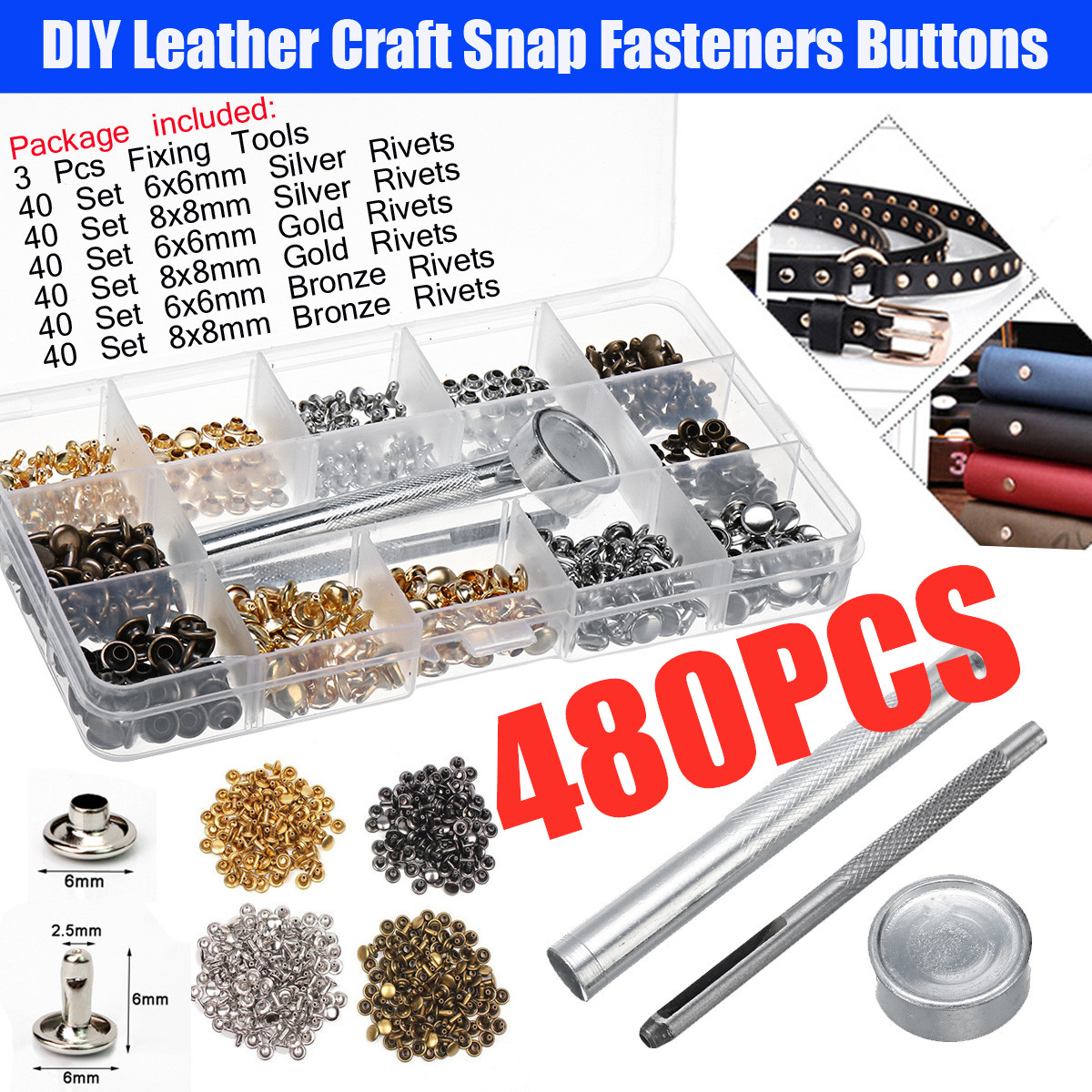 480 Pcs/Lot DIY Leather Craft Snap Fasteners Buttons Copper Antique Brass  Double Cap Sewing Rivet Punk Bag