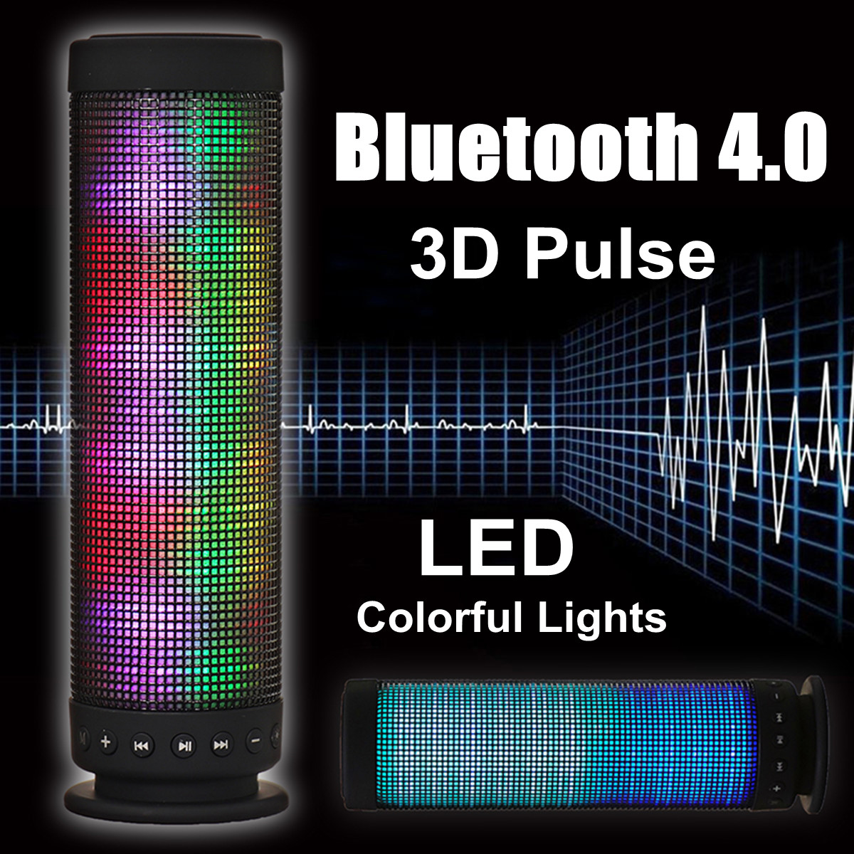 Portable 3D Pulse Wireless bluetooth Speaker LED lights Colorful Music TF  Card 3 5mm Aux Handsfree Stereo Speaker