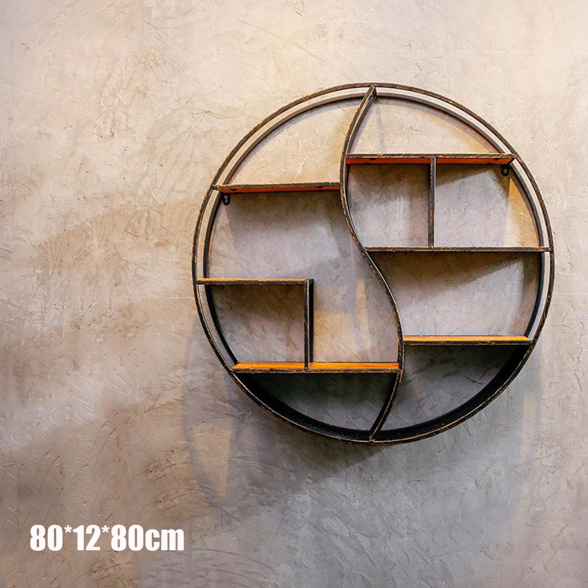 59 80cm Okrągła Półka Metalowa Regał Na Drewno Regał Na ścianie Wspornik Wystrój Pokoju