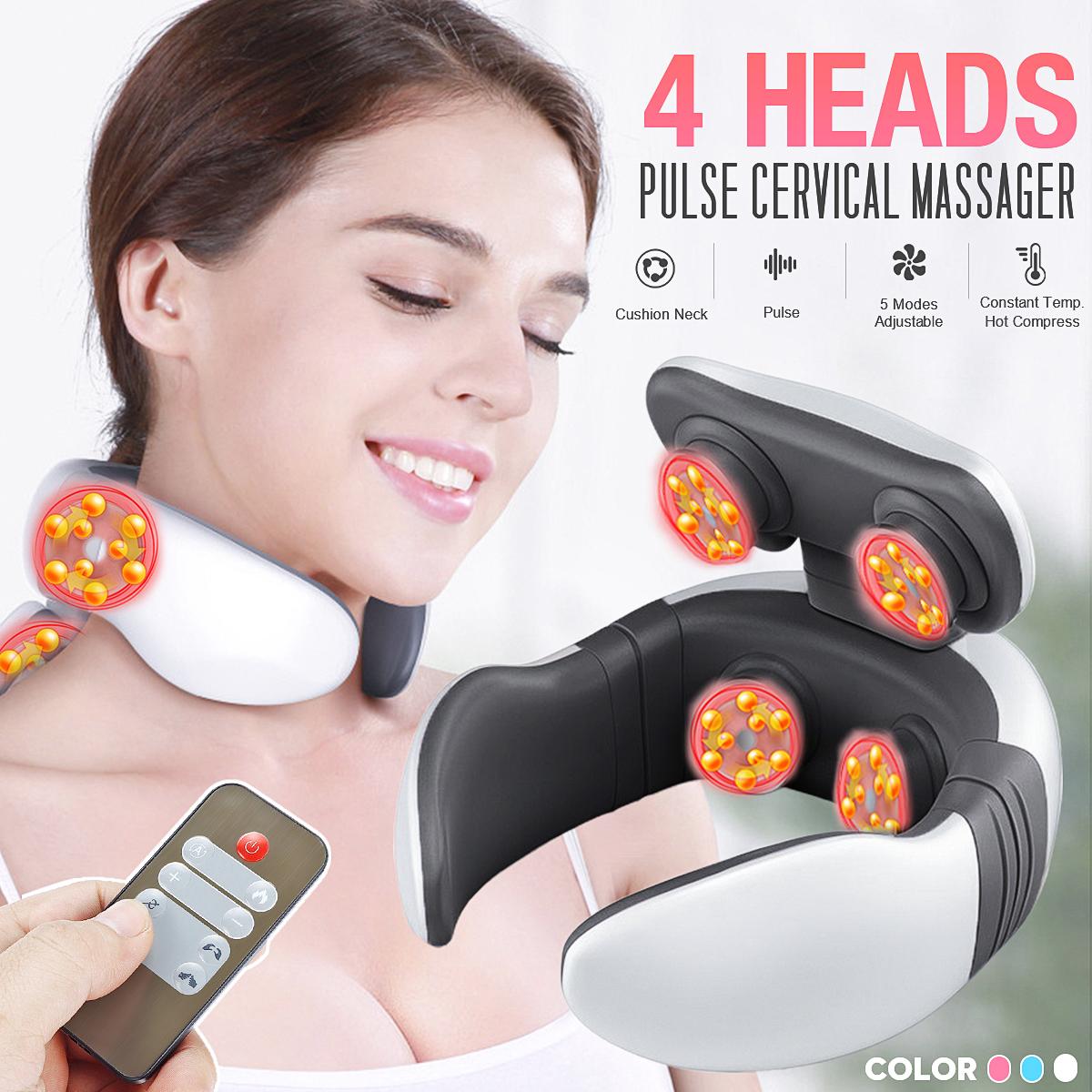 Rechargeable 4 Head Smart Neck Massager W/ Remote Control Neck Shoulder Pulse Electric Massager Promote Blood Circulation