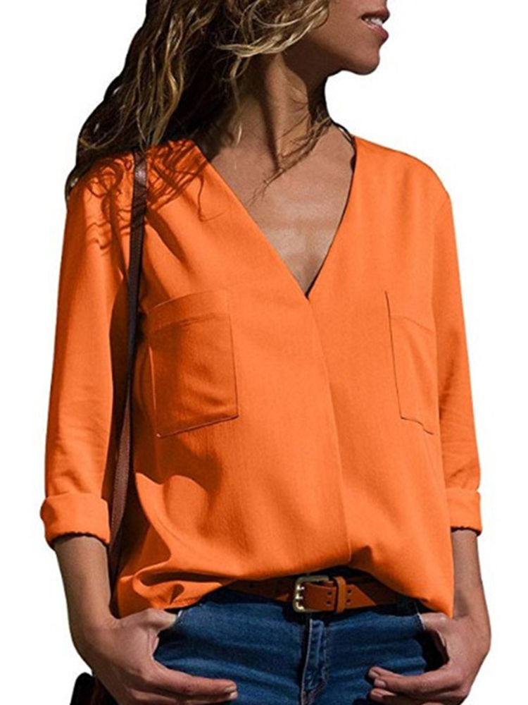 Casual Women Solid Color V-Neck Long Sleeve Blouse with Pockets