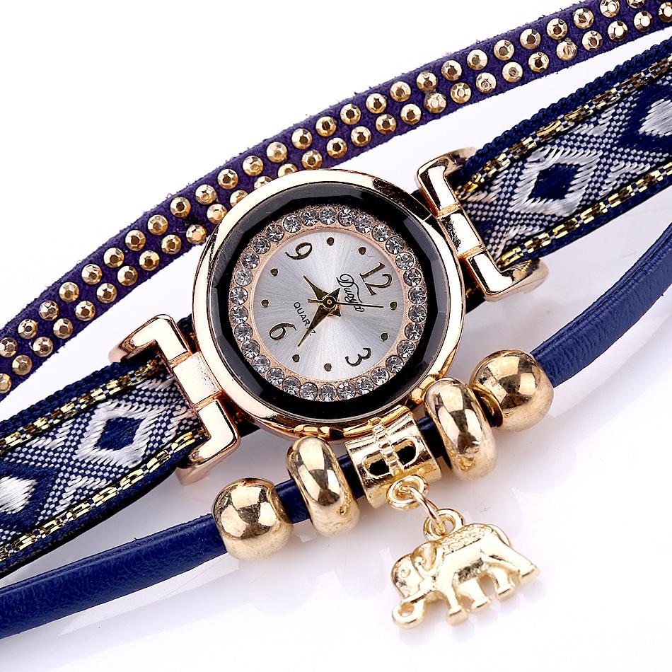 DUOYA XR1889 Fashion Gold Elephant Ladies Bracelet Watch