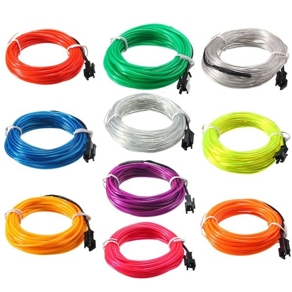 5м эль водить гибкой мягкой трубки провода неонового свечения автомобиля веревка полоса света Xmas декор 12 В постоянного тока