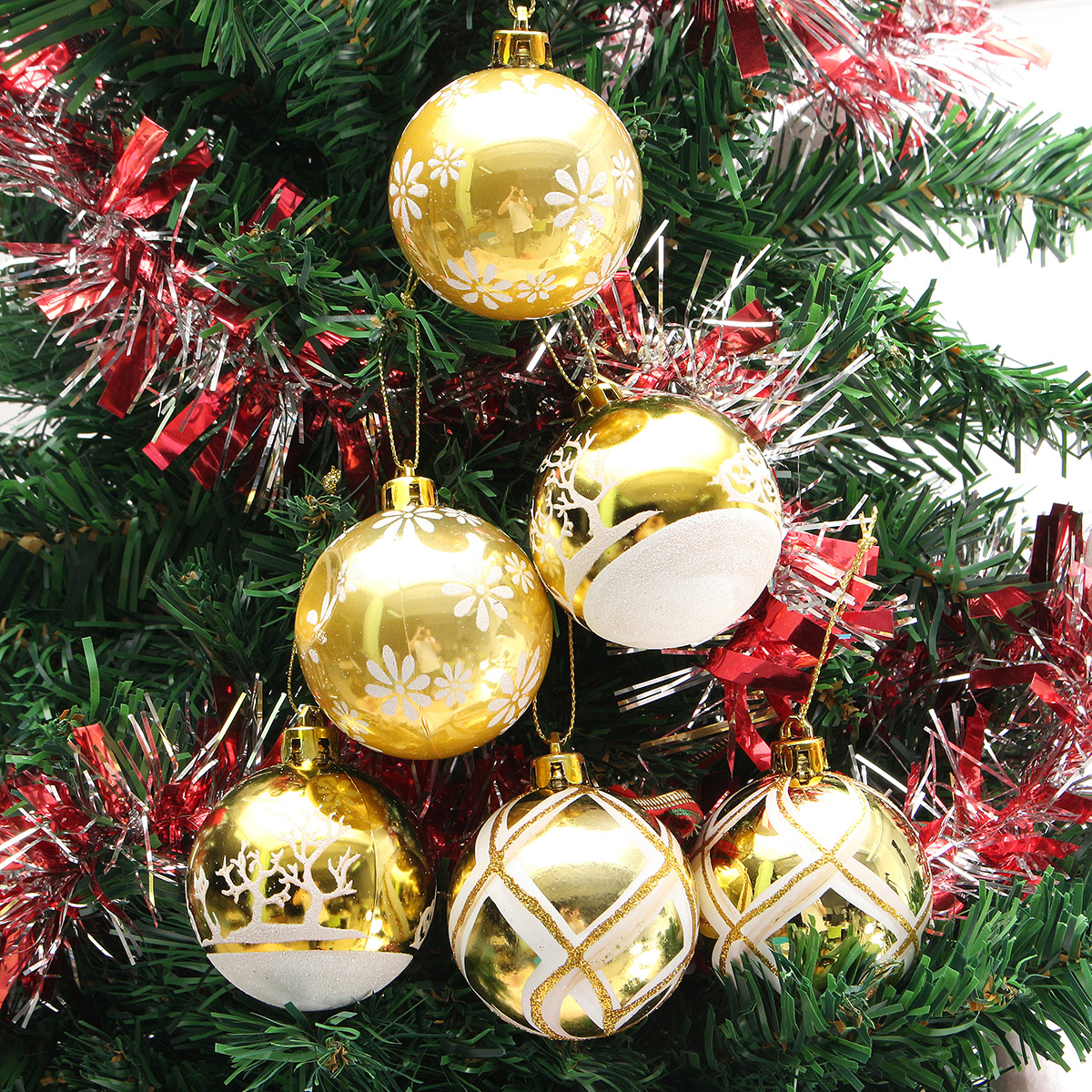 Christmas Tree Balls.Plastic Christmas Baubles Handmade Painted Ball Tree Balls Decorations 6 24pcs