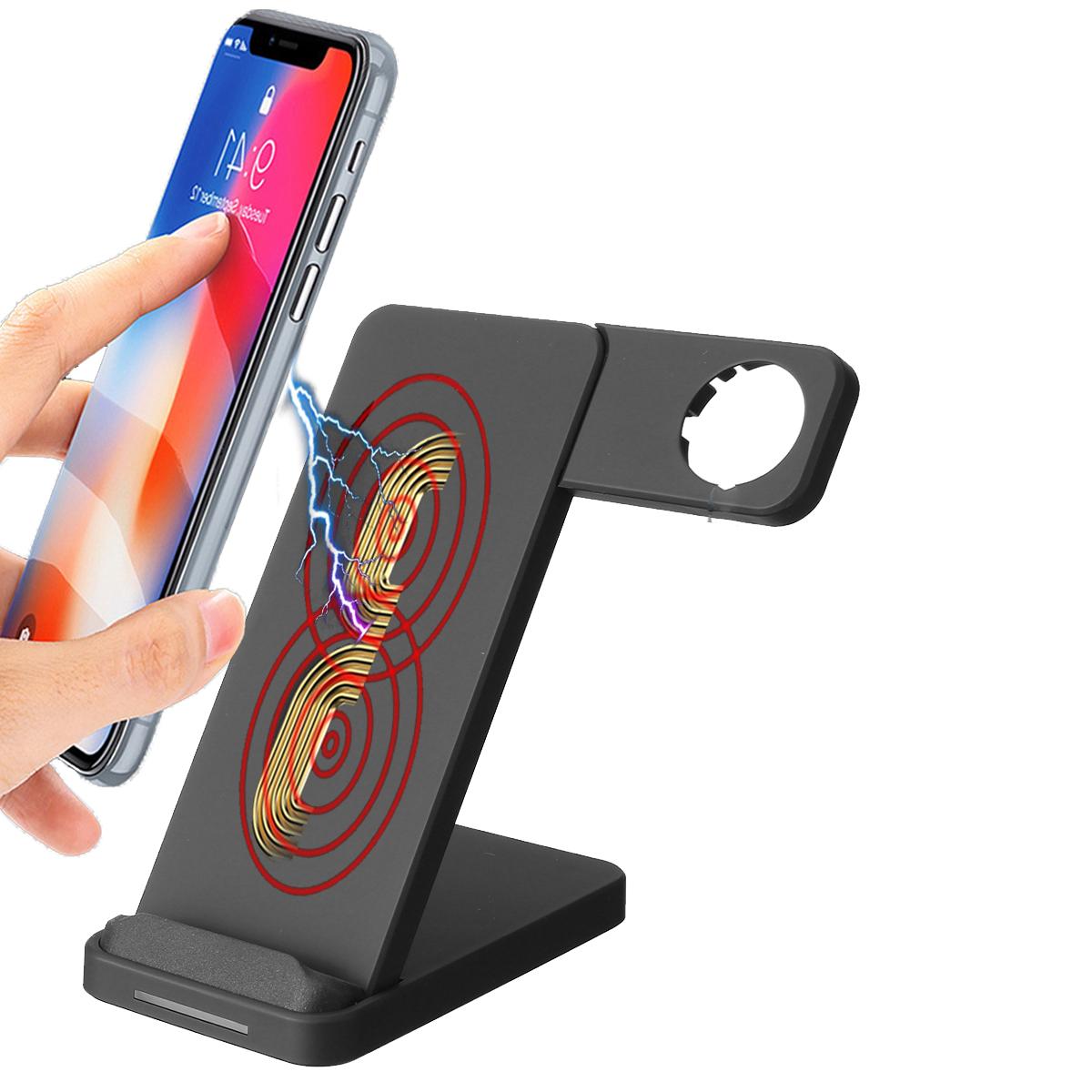 10W Dual Coils Qi Беспроводное зарядное устройство Быстрая зарядка + Держатель для часов для смартфона с поддержкой Qi iPhone Samsung Apple Watch