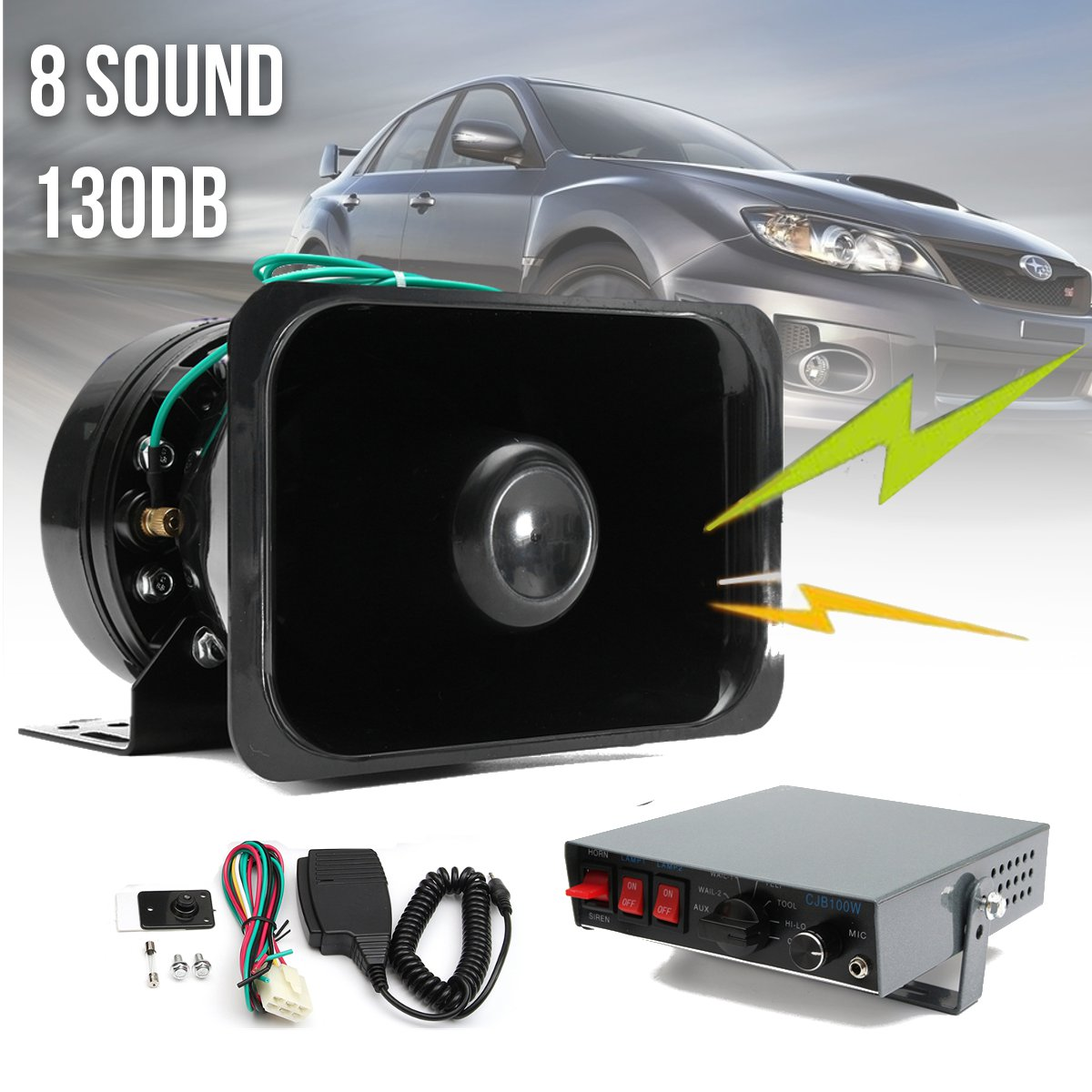 12V 8 Sound Car Truck Warning Alarm Loud Speaker Siren Horn MIC System  Megaphone