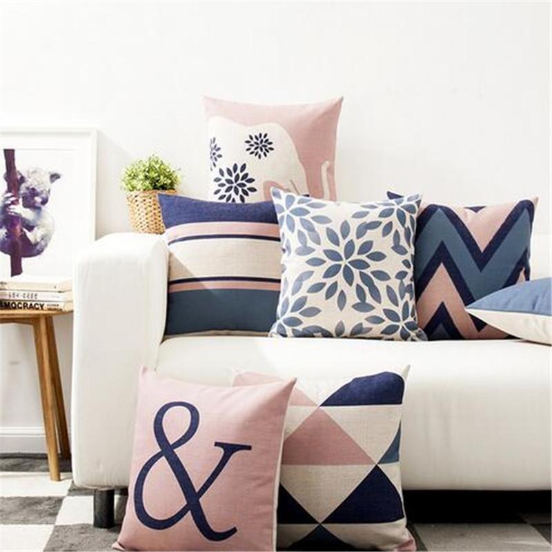 45 х 45 см Декоративная подушка для броска Чехол Северный стиль Геометрическая хлопковая льняная подушка для дивана Домашний декор