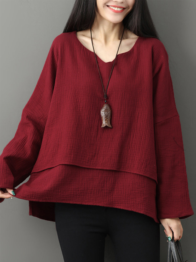 Women V-neck Layered Solid Loose Casual Blouses
