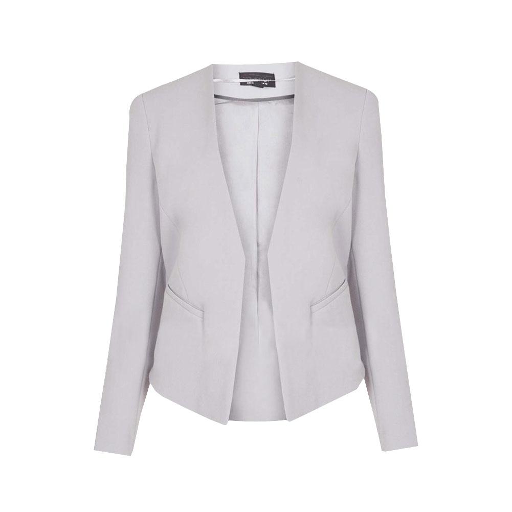 Краткая женщин элегантный V-образным вырезом нет кнопка карман пр работе короткий пиджак