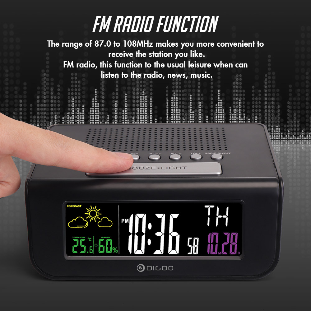 Digoo DG-FR100 SmartSet Wireless Digital Alarm Clock Weather Forecast Sleep  with FM Radio Clock