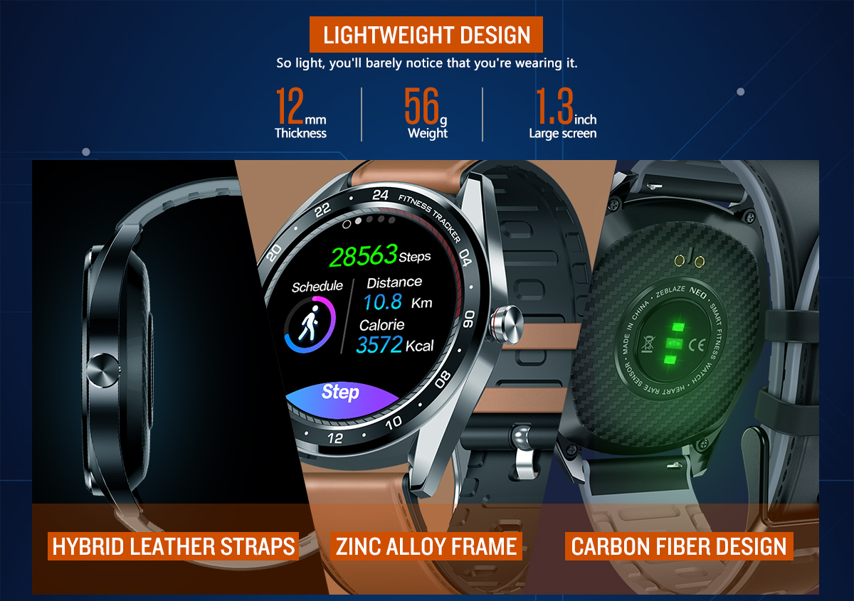Zeblaze NEO 1.3inch Full-round Touch Screen Blood Pressure Heart Rate Monitor Female Physiological Check Countdown Stopwatch Silicone+Leather Band Smart Watch 16