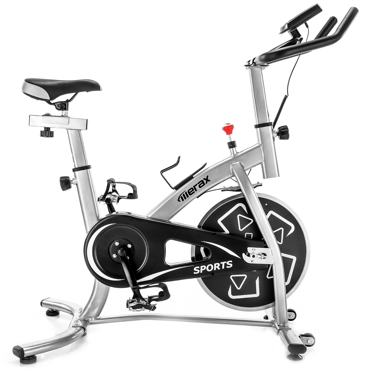 [US DIRECT] Merax S280 Indoor Cycling Bike Belt Drive Outdoor Exercise Bike with 22lbs Flywheel-Sliver Led Light