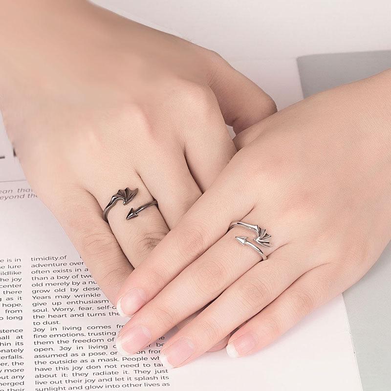 Винтаж Открытое кольцо с кольцами Ретро-ангелы Демоны Регулируемое кольцо