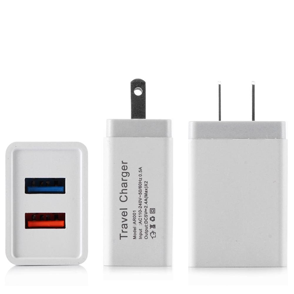 США ЕС 5V 2.4A Dual USB Сетевое зарядное устройство Адаптер питания для планшетного ПК Смартфон