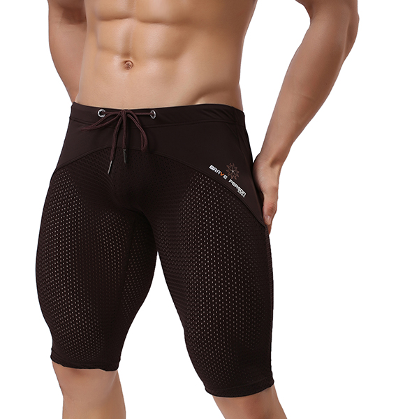 b766042a3c BRAVE PERSON Mesh Breathable Quick Drying Surf Swimming Trunks Men Gym  Fitness Tight Sports Shorts